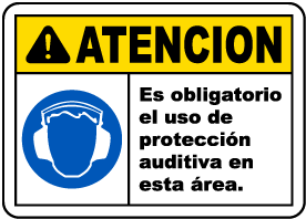 Spanish Caution Hearing Protection Required Sign