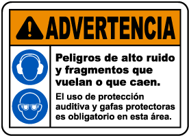 Spanish Hearing and Eye Protection Must Be Worn Sign