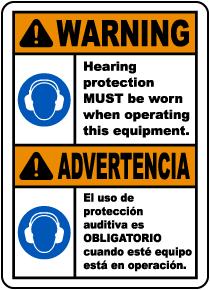 Bilingual Warning Hearing Protection Must Be Worn Sign