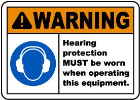 Warning Hearing Protection Label