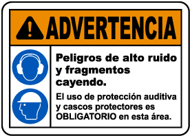 Spanish Warning Loud Noise and Flying Debris Sign