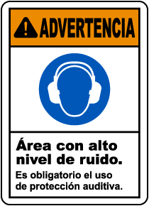 Spanish Warning Hearing Protection Required Sign