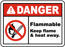 Danger Keep Flame & Heat Away Label