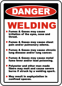 Danger Welding Hazards Sign