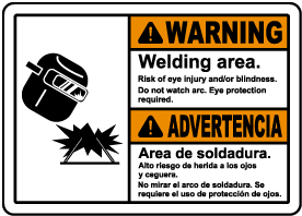 Bilingual Welding Area Risk of Injury Sign