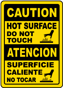 Bilingual Caution Hot Surface Do Not Touch Sign