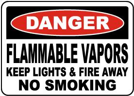 Flammable Vapors Keep Fire Away Sign