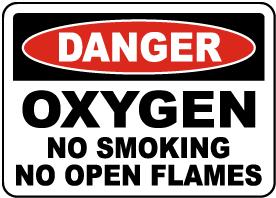 Oxygen No Smoking No Open Flame Sign