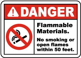 Flammable Materials No Smoking Sign