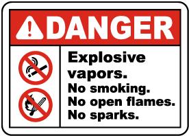 Explosive Vapors No Smoking Sign