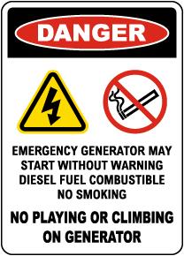 Danger Emergency Generator Sign