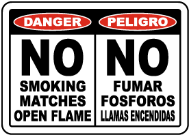 Bilingual No Smoking Matches Open Flame Sign