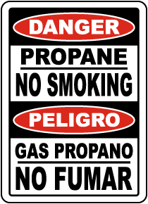 Bilingual Propane No Smoking Sign