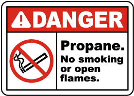 Propane No Smoking No Open Flame Sign