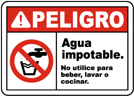 Spanish Danger Unsafe Water Do Not Use Sign