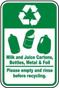 Milk, Juice Cartons, Metal Recycle Sign