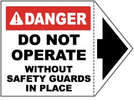 Danger Do Not Operate Arrow Label