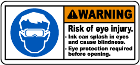 Risk of Injury Ink Can Splash In Eyes Label