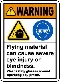 Wear Safety Glasses Around Equipment Label