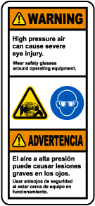 Bilingual Wear Safety Glasses Around Equipment Label