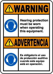 Bilingual Warning Hearing Protection Label