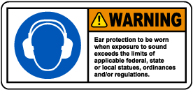 Warning Ear Protection Label