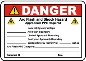 Write-On Danger Arc Flash and Shock Hazard Label