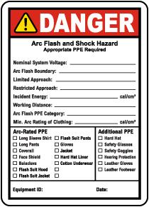 Write-On NFPA 70E Arc Flash & PPE Danger Label