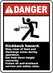 Kickback Hazard Stay Clear Label