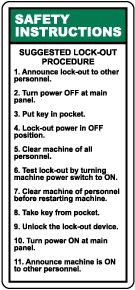 Suggested Lock-Out Procedures Label