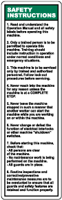 Machine Safety Instructions Label