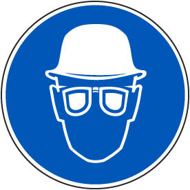 Wear Hard Hat & Eye Protection Label