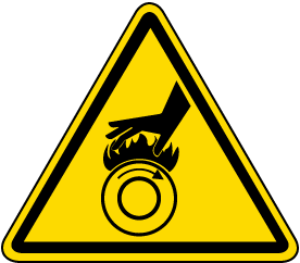 Hot Surface Rollers Warning Label