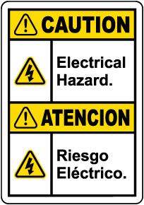Bilingual Caution Electrical Hazard Label