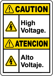 Bilingual Caution High Voltage Label