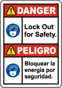 Bilingual Danger Lock Out For Safety Label