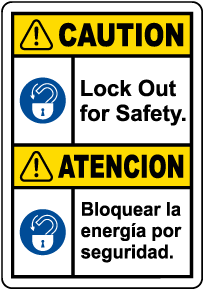 Bilingual Caution Lock Out For Safety Label