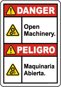 Bilingual Danger Open Machinery Label