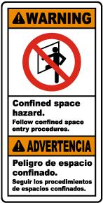 Bilingual Confined Space Follow Entry Procedures Label