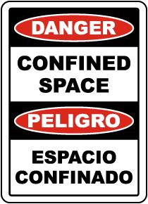 Bilingual Danger Confined Space Label
