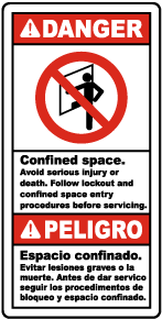 Bilingual Follow Lock Out & Entry Procedures Label