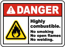 Highly Combustible No Smoking Label