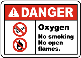 Oxygen No Smoking No Open Flame Label