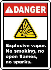Explosive Vapor No Smoking Label