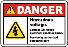 Hazardous Voltage Will Shock Label
