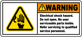 Warning Electrical Shock Hazard Label