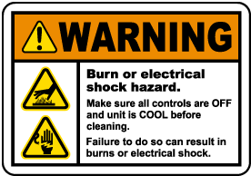 Burn or Electrical Shock Hazard Label