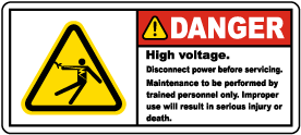 Danger High Voltage Disconnect Label