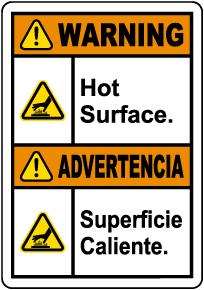 Bilingual Warning Hot Surface Label