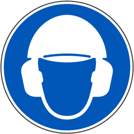 Wear Hard Hat & Ear Protection Label